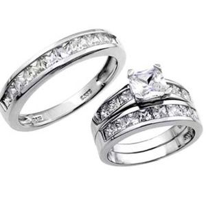 Princess cut Sterling Silver Wedding Ring Set sz 5